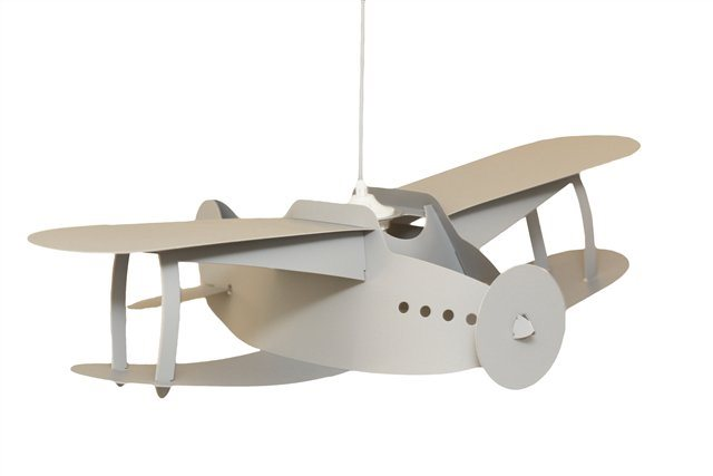 lampe suspension enfant avion gris